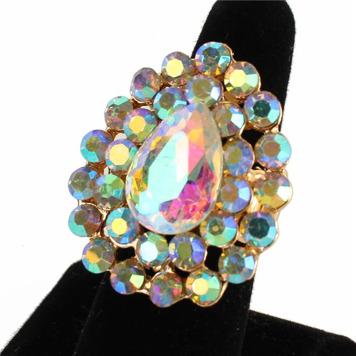"1.50"" crystal bubble stretch cocktail ring"