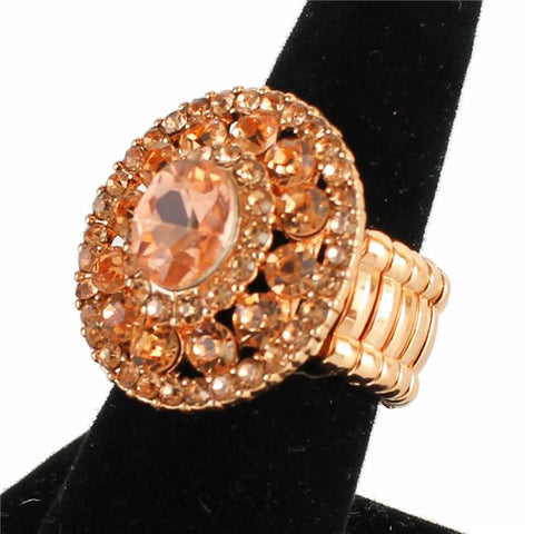 "1.05"" rose gold crystal round stretch cocktail ring"