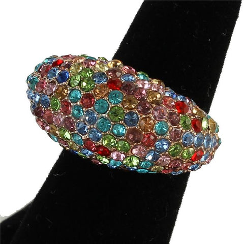 ".60"" gold multi crystal pave dome stretch cocktail ring bridal prom"