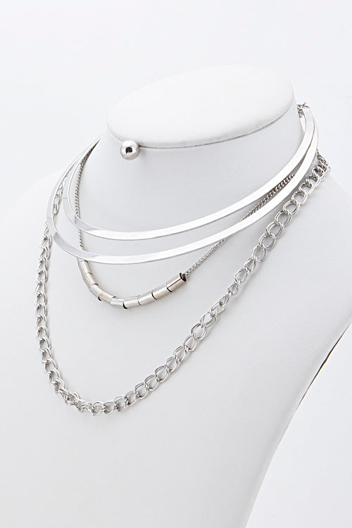 "14"" silver multi chain layered collar choker bib necklace .25"" earrings"