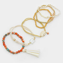 6 bracelets stretch tassel fringe bracelet bangle cuff faux suede charm neutral