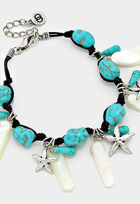 starfish charm pearl stretch bracelet bangle cuff basketball wives