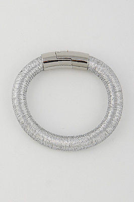 silver coil wire bracelet bangle cuff magnetic basketball wives