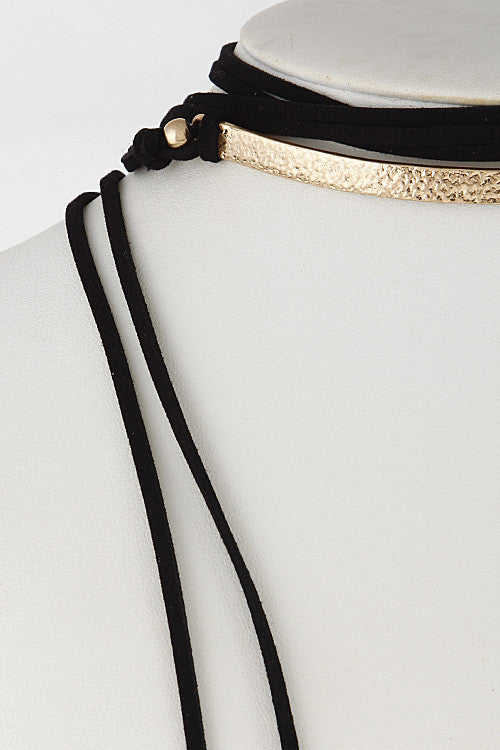"60"" black gold bar suede wrap choker collar Necklace"