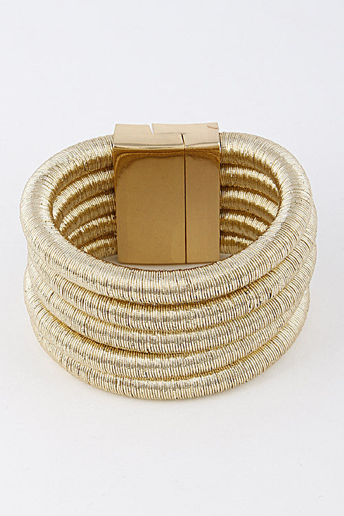 "8.50"" coil wire bracelet bangle cuff magnetic 5 layer 2"" wide"