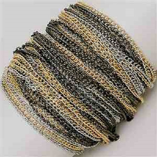 "8"" silver layered chain arm candy stack bracelet bangle cuff toggle"