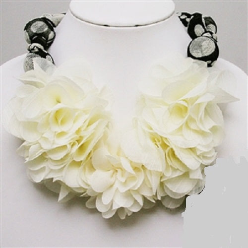 "14"" cream flower collar choker floral necklace bridal prom"