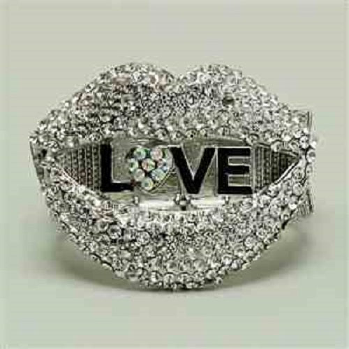 "7"" love crystal stretch bracelet bangle cuff 2.25"" wide"
