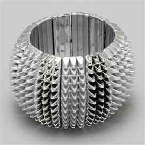 "2"" wide silver spike arm candy stack stretch bracelet bangle cuff"