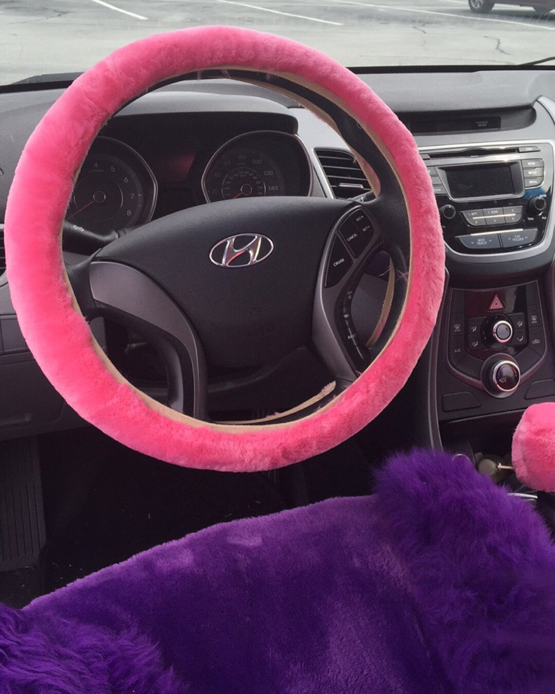 Pink Fur Steering Wheel Cover Set 3 Piece Spoiled Accessories