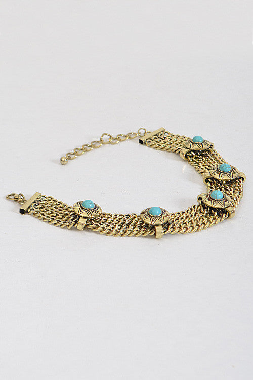 "15.50"" gold turquoise aztec choker collar Necklace"