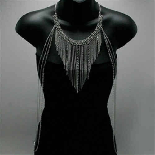 silver crystal dangle fringe tassel necklace bra body chain bikini
