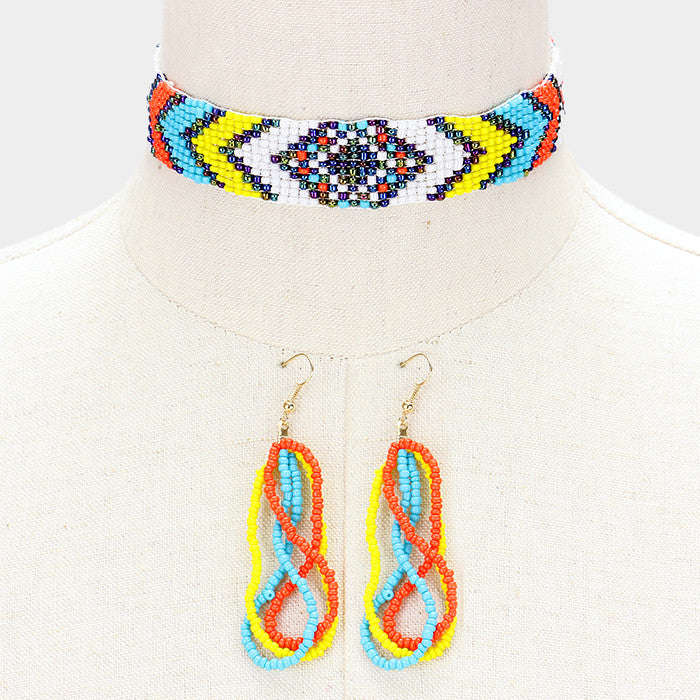 "12""  twisted ring choker collar bib chunky necklace .75"" earrings"