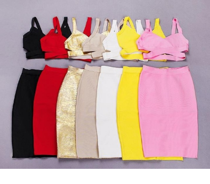 2 piece bodycon bandage skirt crop top club dress tg
