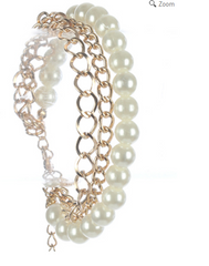 "7"" gold faux pearl chain multi layered bangle bracelet cuff 3 row"