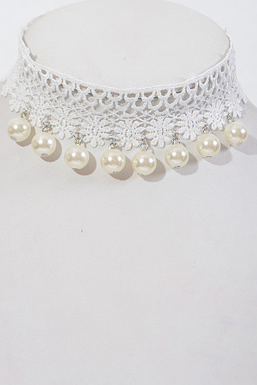 "15"" white lace faux pearl dangle choker necklace 1.50"" wide"