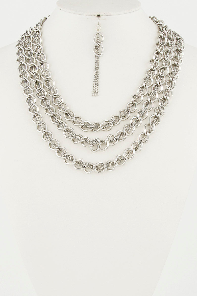"20"" multi layered chain choker necklace 1.25"" earrings"