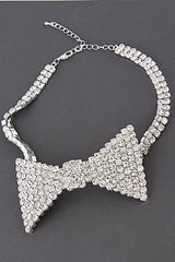 "12"" crystal bow choker collar bib necklace"
