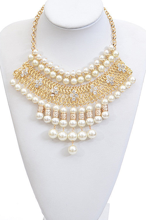 "12"" gold pearl crystals rhinestone bib collar choker necklace boho statement"