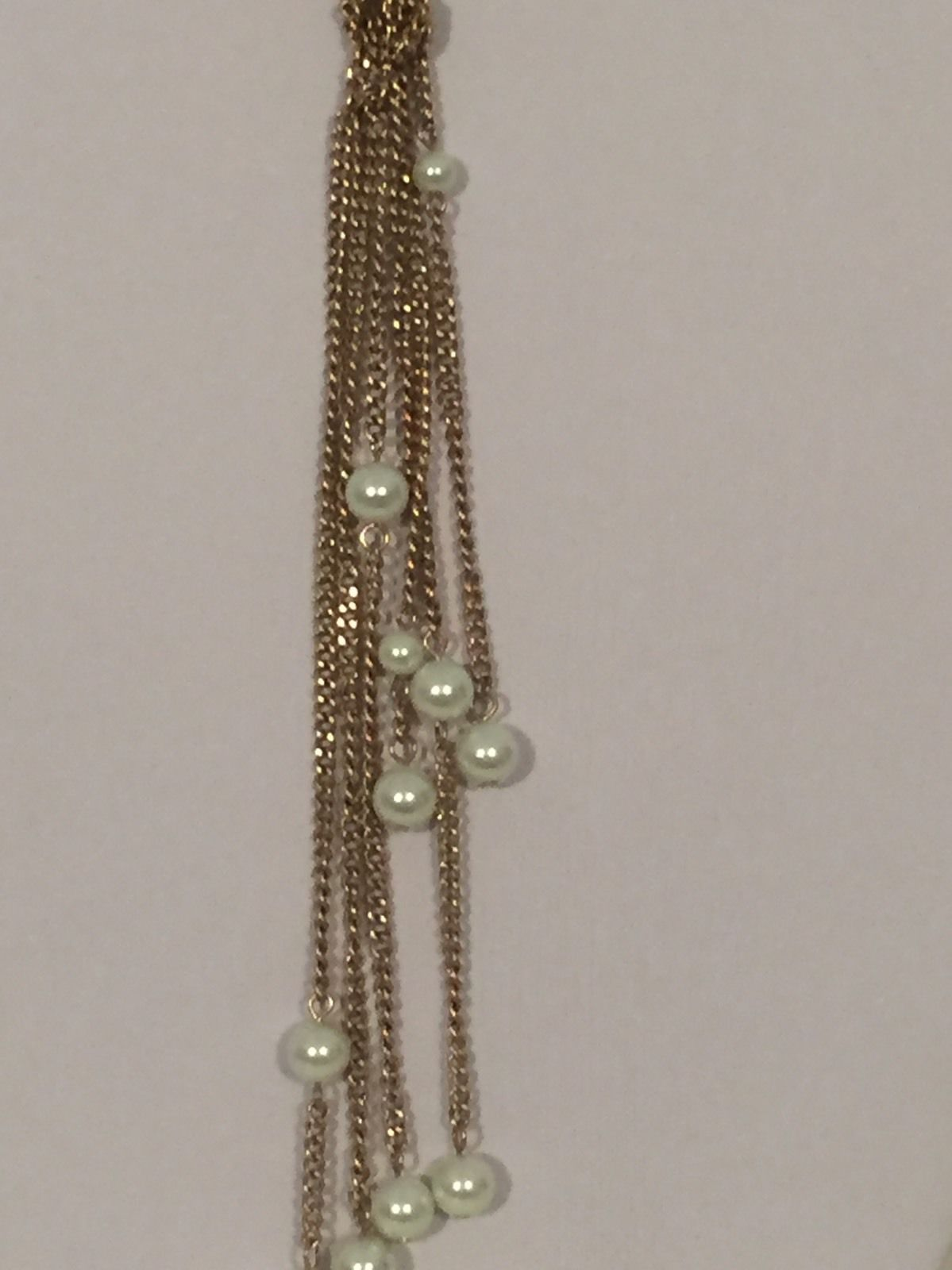 "24"" faux pearl 6"" tassel fringe knot multi layered necklace"