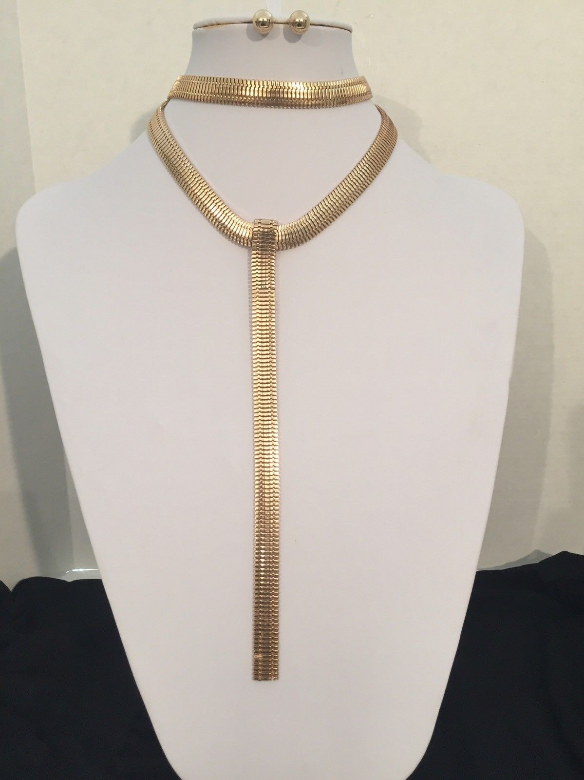 "12"" gold snake tie choker layered collar necklace .50"" earrings 12"" drop"