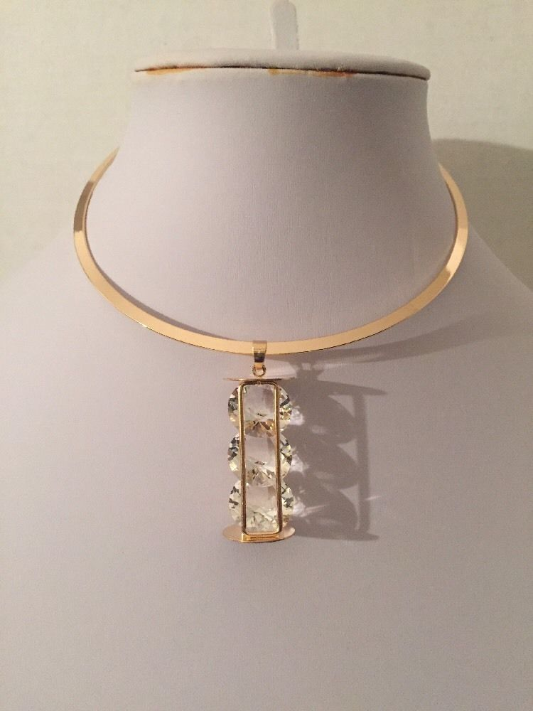 "10"" gold 2.75"" crystal pendant choker necklace .50"" earrings"