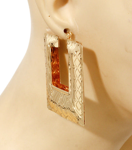 "2"" gold hoop square bamboo earrings basketball wives"