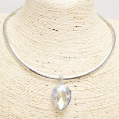 "17"" crystal 1.25"" pendant choker necklace"