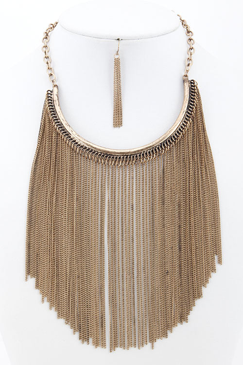 "14"" gold 5.50"" fringe tassel multi chain choker bib necklace 2"" earrings"