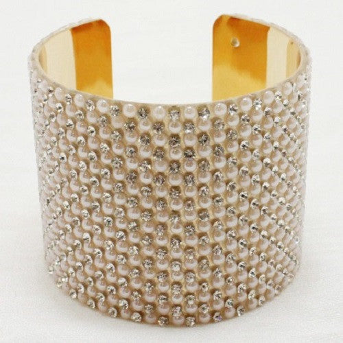 "6.50"" gold pearl crystal cuff bangle bracelet 2.40"" wide"