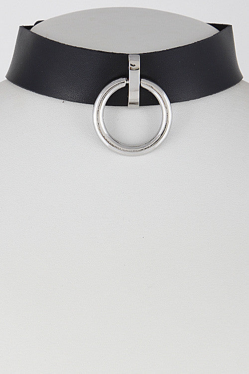"18"" collar choker circle pendant necklace 1"" wide"