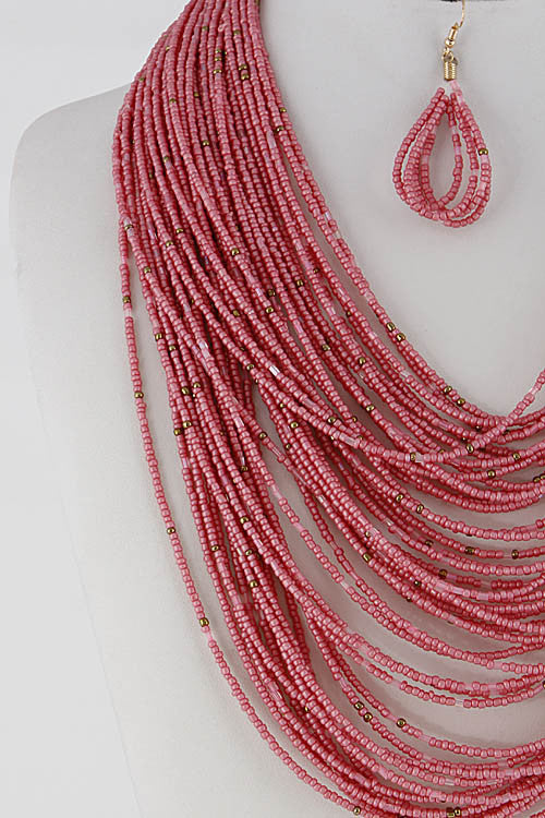 "18"" seed bead layered boho collar bib necklace 1.50"" earrings"