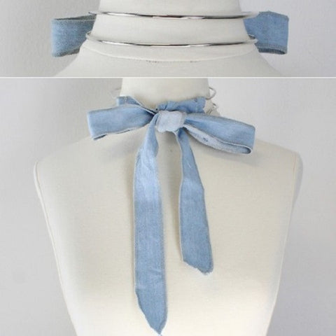 "10"" silver light denim blue jean tie fabric choker collar cuff necklace"