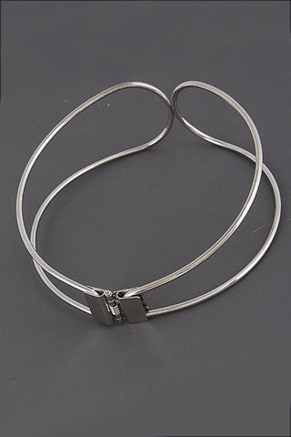 "10"" silver double layer bib collar hinged choker necklace statement"