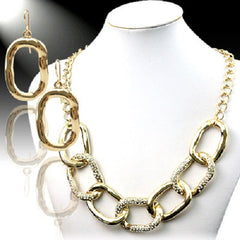 "16"" crystal paved bib chain link choker ring necklace 1"" earrings"
