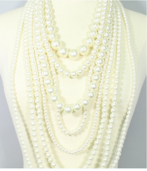 "18"" cream faux pearl layered bib necklace earrings chunky 44"" drape"