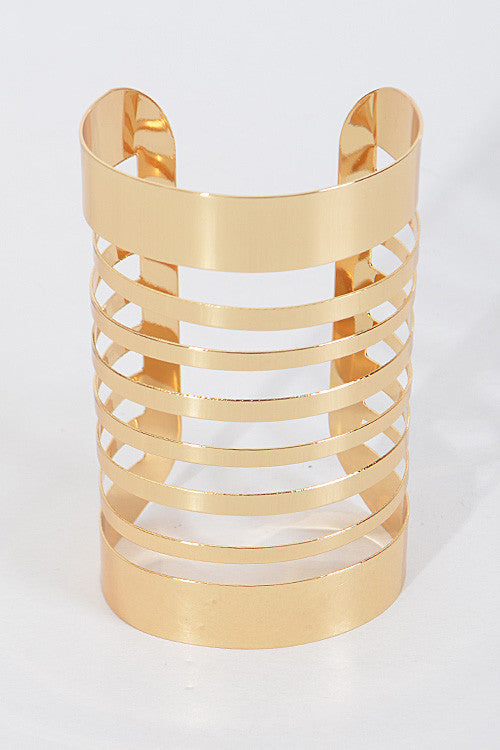 "7"" wide cage cuff bracelet bangle 4.50"" long"