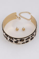 "10"" gold leopard collar choker open cuff necklace"