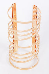 "7"" wide gold cage lined cuff bracelet bangle 5"" long"