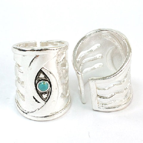 "1.10"" long silver turquoise boho adjustable ring"