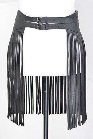 "18.30"" faux leather fringe tassel belt skirt 35.50"" length double buckle"