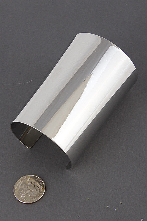 "6.75"" wide silver smooth cuff bracelet bangle 4"" long"