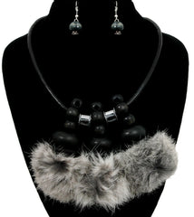"18"" brown rabbit fur necklace choker statement collar bib boho statement chunky"