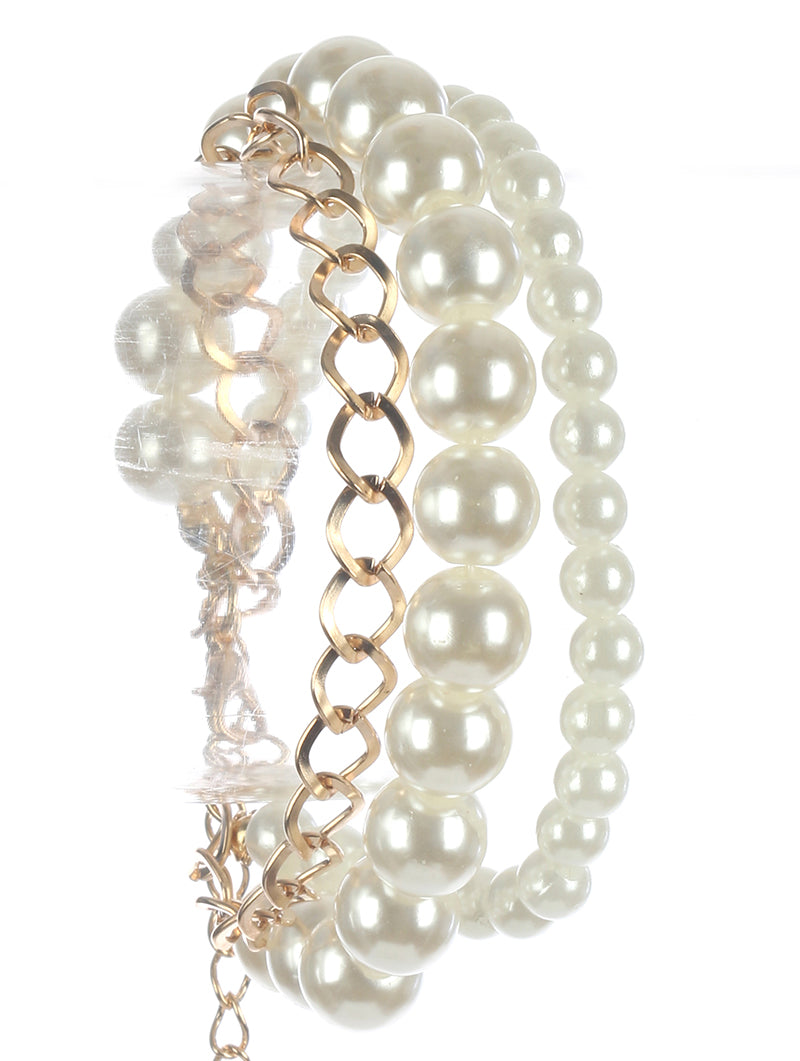 "7"" pearl chain multi 3 layered bangle bracelet cuff"