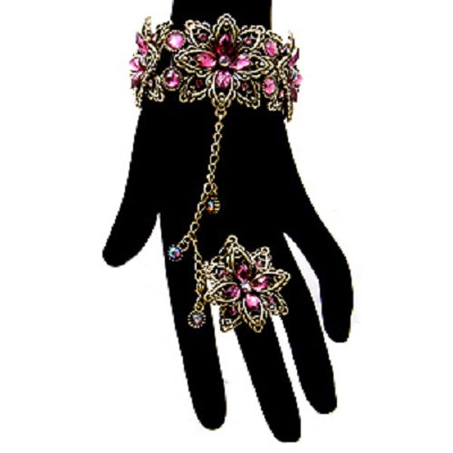 purple crystal floral hand bracelet ring bridal prom