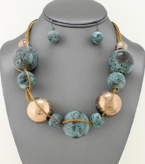 "16"" patina gold sphere choker necklace collar bib earrings"