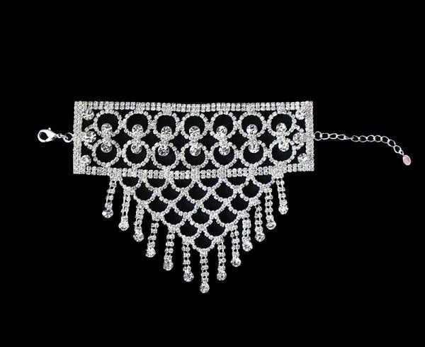 "5.25"" crystal hand dangle bracelet bridal prom pageant"