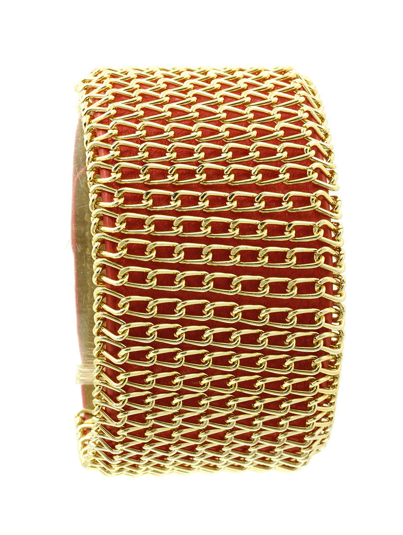 "7.25"" red coral gold bracelet bangle wrapped faux leather"