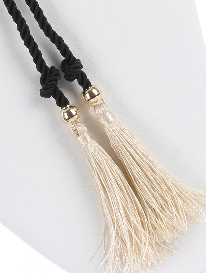 "25.50"" wrap choker 28"" rope knot 4.85"" tassel necklace 3"" earrings"