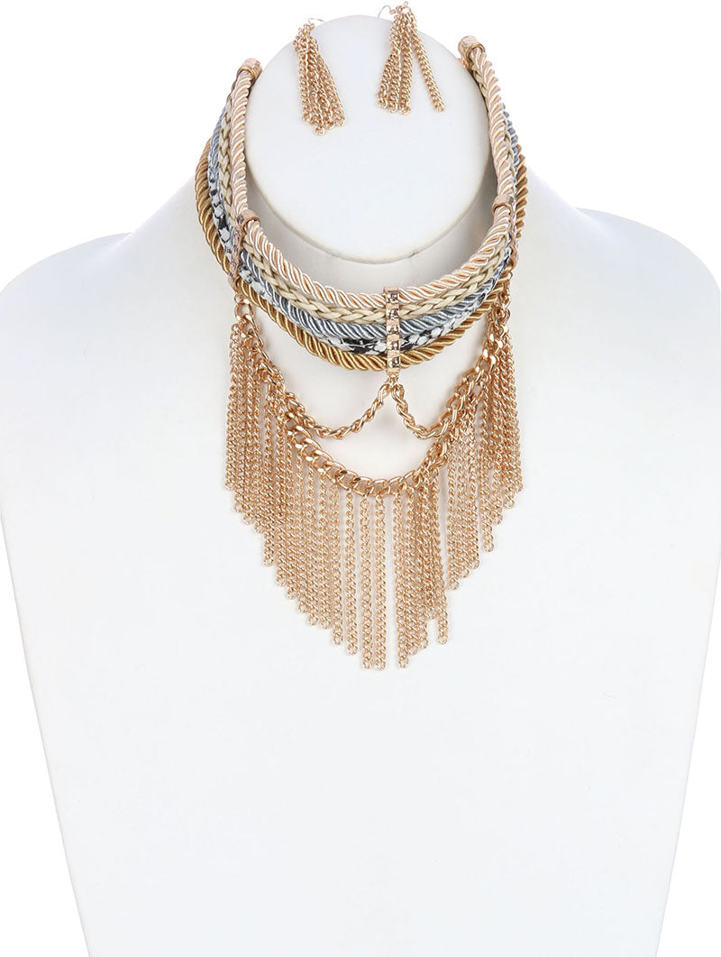 "12"" multi layered chain rope fringe tassel choker collar necklace 2"" earrings"